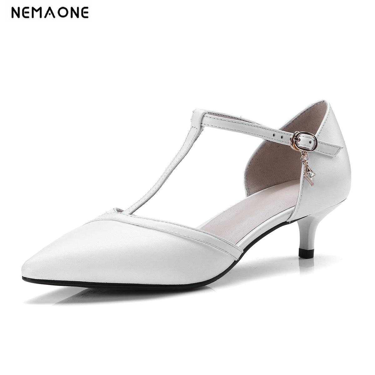 NEMAONE mode blanc T-strap femmes pompes bout pointu boucle En Cuir véritable talon mince talons hauts chaussures