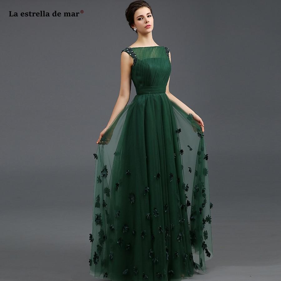 Vestido de madrinha de Casamento Longo new Tulle boat neck Cap sleeve beads a line dark green   bridesmaids     dresses   elegant
