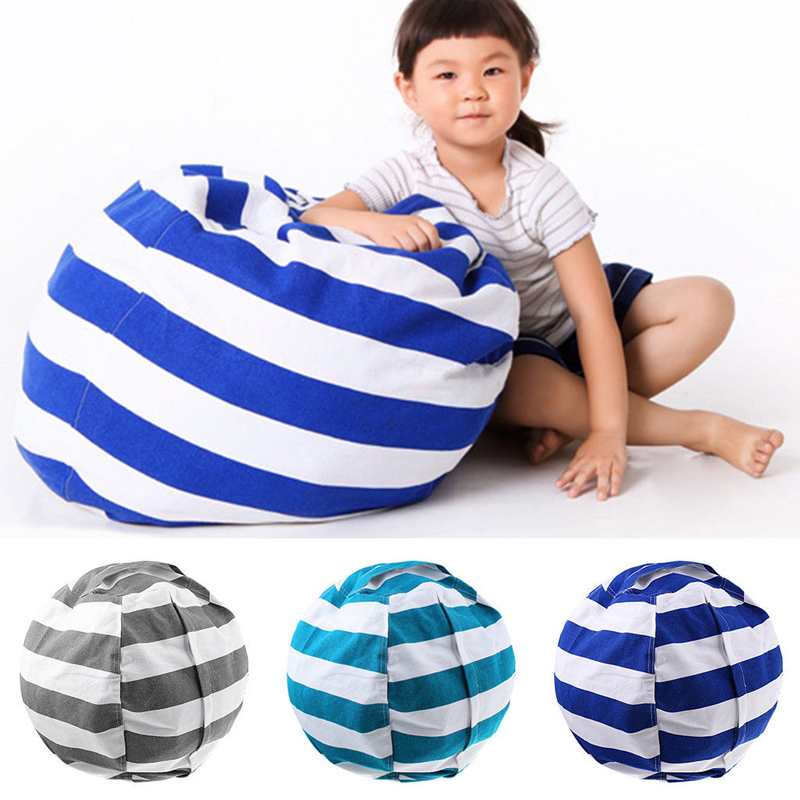 Image 2 - New Portable Canvas Stuffed Plush Toy Bag Foldable Kids Clothes Storage Bean Bag for Home Multi Purpose Organizer Pouch-in Storage Bags from Home & Garden