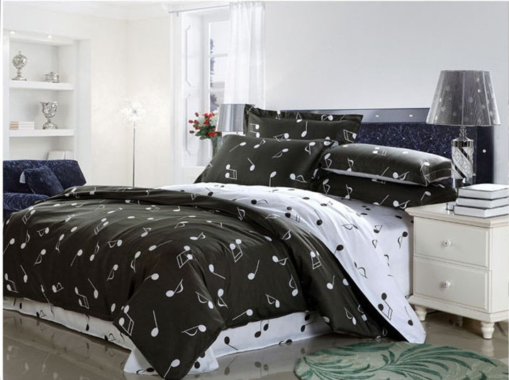 100% Cotton Hot selling Modern Bedding Sets Musical Notes Design