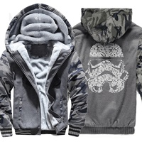 Sweatshirt For Male 2019 Winter Thick Hoodies Mens Zipper Tracksuit With Hat Print Darth Vader Men's Sportswear Harajuku Hipster