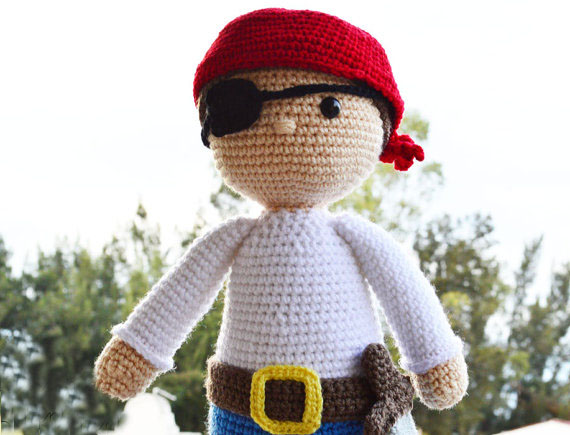 CROCHET   The Friendly Pirate - Amigurumi Toy Doll - Crochet Toy - Nursery And Kids Gift Rattle