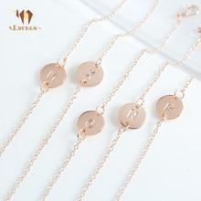 56a608d31554 ESERES Rosa letras de oro pulseras y brazaletes para las mujeres ajustable  Simple cadena de Metal pulsera regalos para niña nomb.