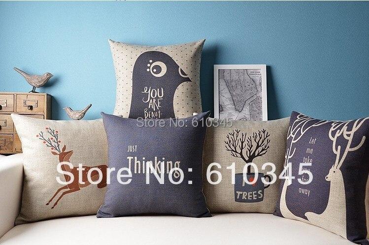 free shipping 45x45cm retro burlap home decor pillow linen cotton cushion decorative throw pillows sofa pillow