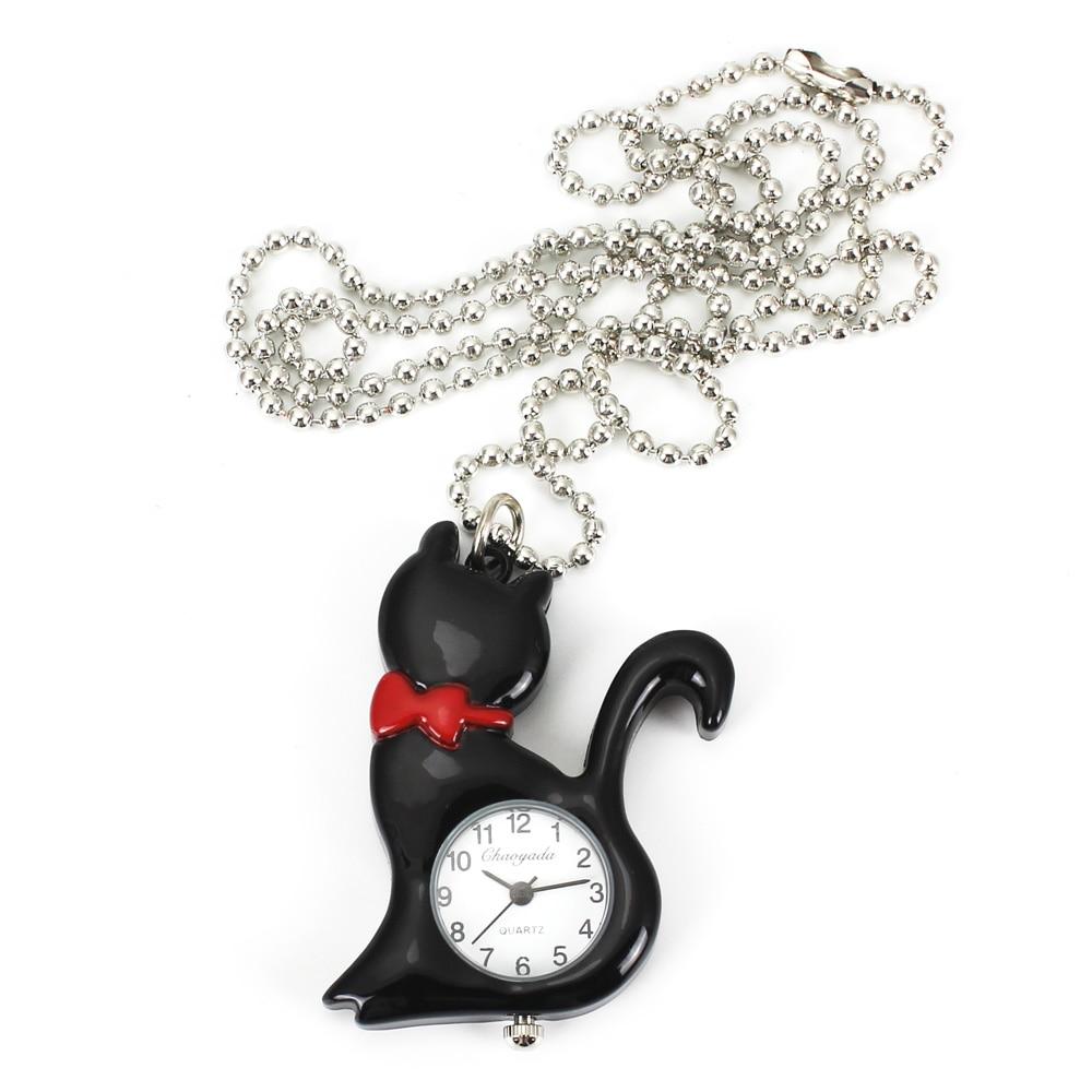Nieuwe mode vrouwen kat ketting horloges steampunk hanger zak charme - Zakhorloge - Foto 2