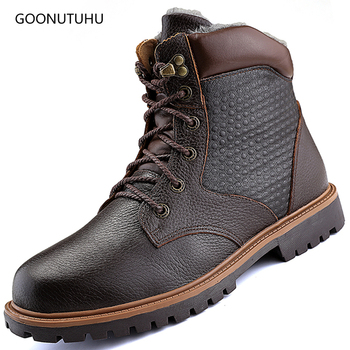 Fashion men's boots military casual genuine leather cow winter shoes men boot plus size snow shoe warm army ankle boots for men