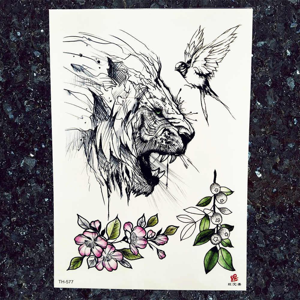 1e704035e6b90 ... Men Chest Big Tattoo Stickers Black Tribal Totem Lion Tattoos Temporary  Women Arm Fake Rose Wolf ...