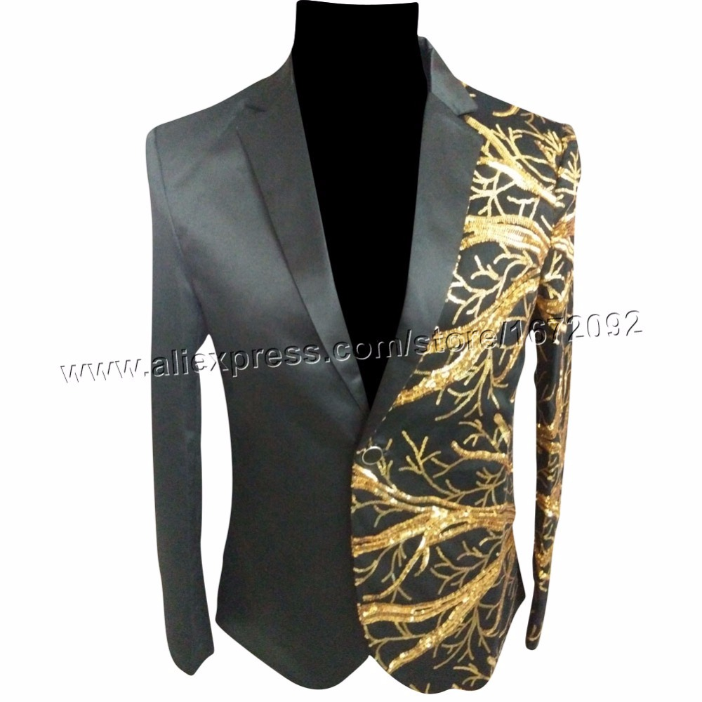 Aliexpress.com : Buy Gold sequin jacket black sequin blazer men ...