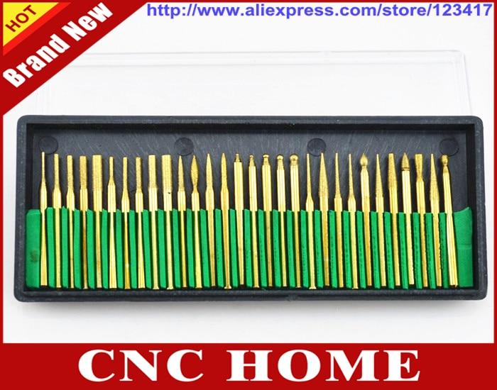 Portable 3mm 30Pcs Titanium Diamond Burrs Bur Bit Set  Rotary Tool Set w//