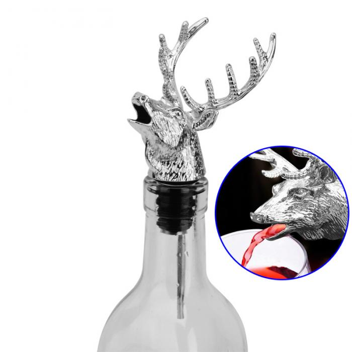 Alloy Deer Stag Head Wine Pourer Wine Bottle Stoppers Aerators Bar Tools FP8