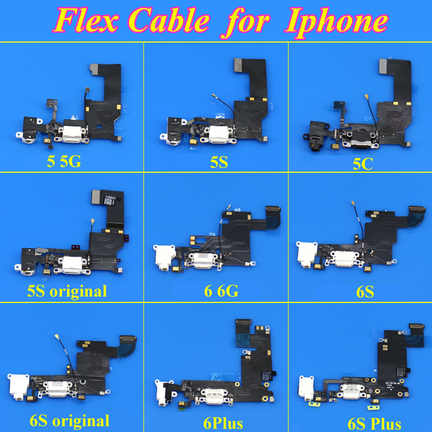 1Piece Charger Charging Port Connector USB For IPhone 5 5S 5C 6 6S 6Plus 6Splus Dock Flex Cable Headphone Jack Lightning Rubbon
