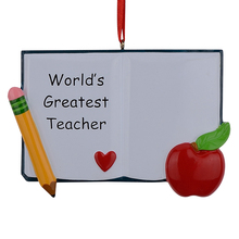 Worlds Greatest Teacher Book Personalized Polyresin Christmas Ornaments As For Holiday Gifts