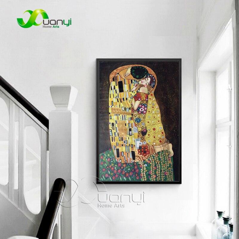 Moderno abstracto pintado a mano Gustav Klimt beso pintura cuadro ...