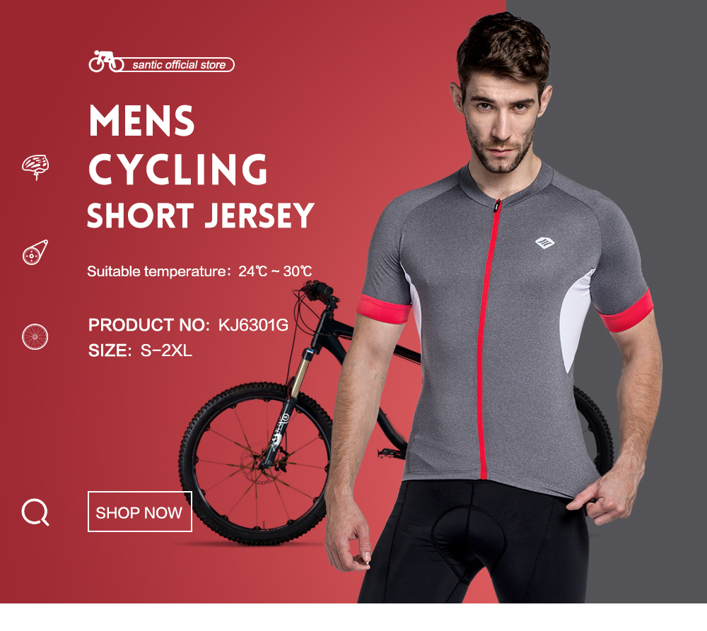 Santic Men Cycling Jersey Cycling Shirts Short Sleeve Pro Fit Road Bike Gray Cycling Clothing Red Zipper Breathable KJ6301G paladinsport men s skull patterned short sleeved dacron cycling jersey white red xl page 7