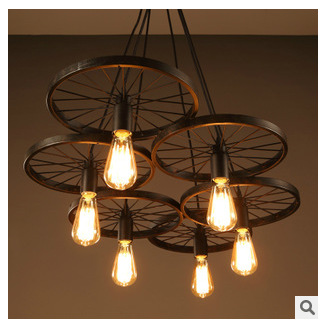 Фото wheel Design Wrought Iron Pendant Lamps lights Vintage Industrial Lighting Loft Wheel Lamp Bar lighs 1 / 3 / 6 wheel style