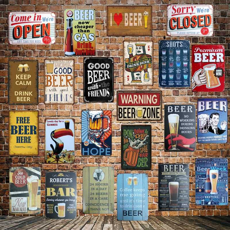 [ WellCraft ] DRINK GOOD BEER ZONE KEEP CALM Vintage OPEN CLOSE Metal Sign Wall Plaque Custom Painting Antique Pub Decor LT-1709