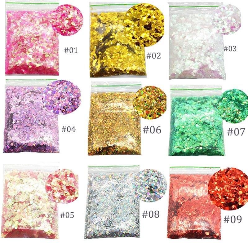 50g/bag Chunky Glitter Makeup Glitter Flake Face /Eye /Body Shiny Glitter Sequin 1-3mm Glitter Nail Art Tip Decor For Festival