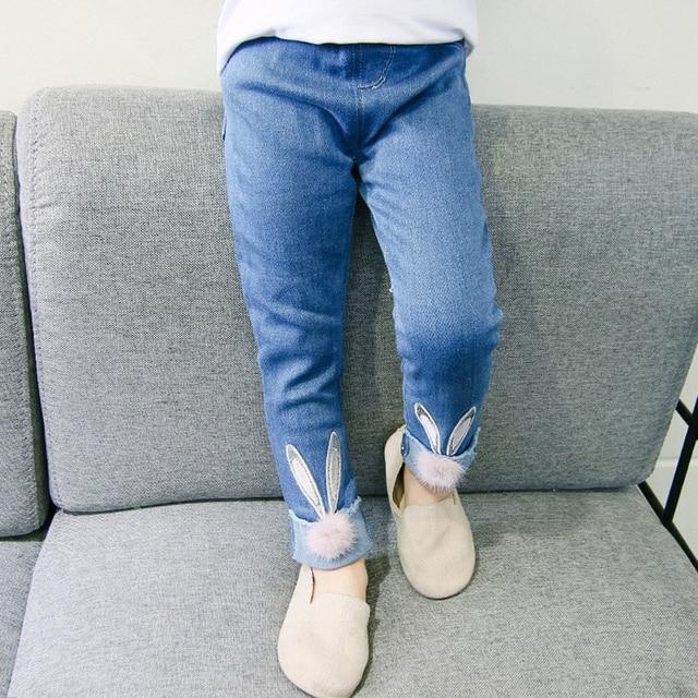Girls Jeans 2018 Cartoon Rabbit Plus Size 2 7 Years Pants Slim Skinny Kids Leggings Cotton Casual Children Clothes