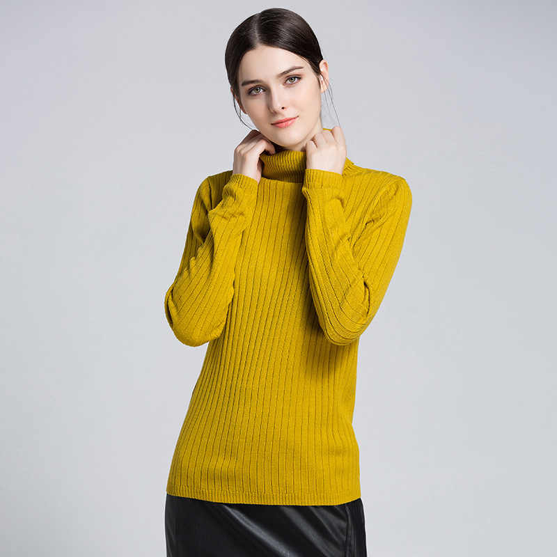 6947733effbaf4 Fall Winter Knitted Mustard Color Cowl Neck Sweater for Women Cute Ladies  Turtleneck Pullover Jumper Burgundy