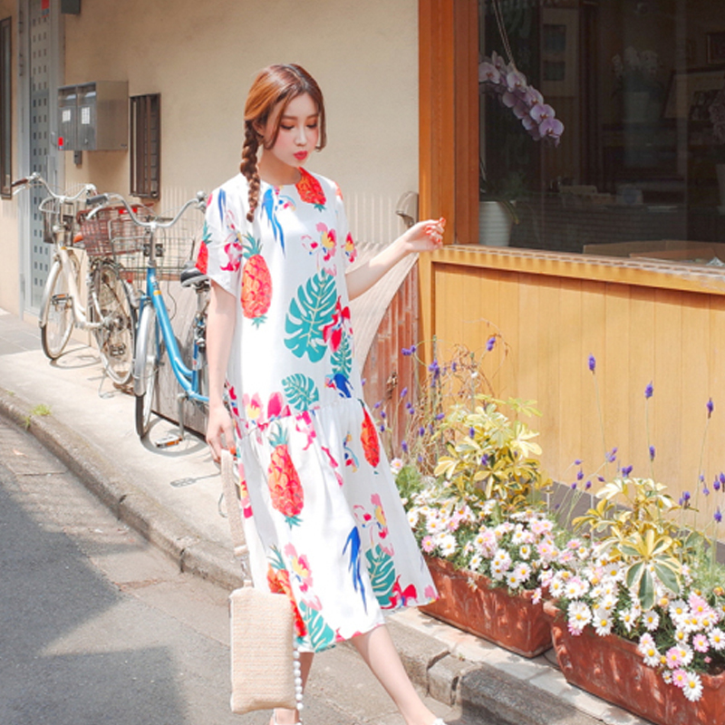 Tropical Island Wind Pineapple Print hem ruffled dress mori girl 2018 summer ...