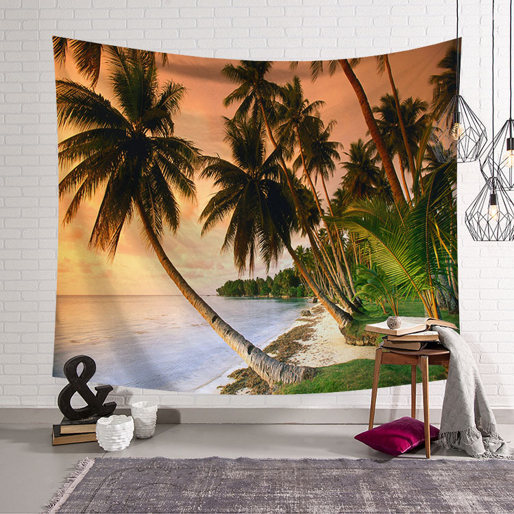 Image 4 - CAMMITEVER Blue Sky White Cloud Sea Beach Coconut Tapestry Wall Hanging Scenic Tapestries Bedspread Picnic Bedsheet Blanket-in Tapestry from Home & Garden