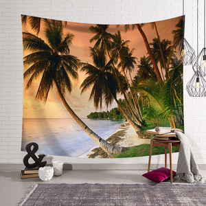 Image 4 - CAMMITEVER Blue Sky White Cloud Sea Beach Coconut Tapestry Wall Hanging Scenic Tapestries Bedspread Picnic Bedsheet Blanket