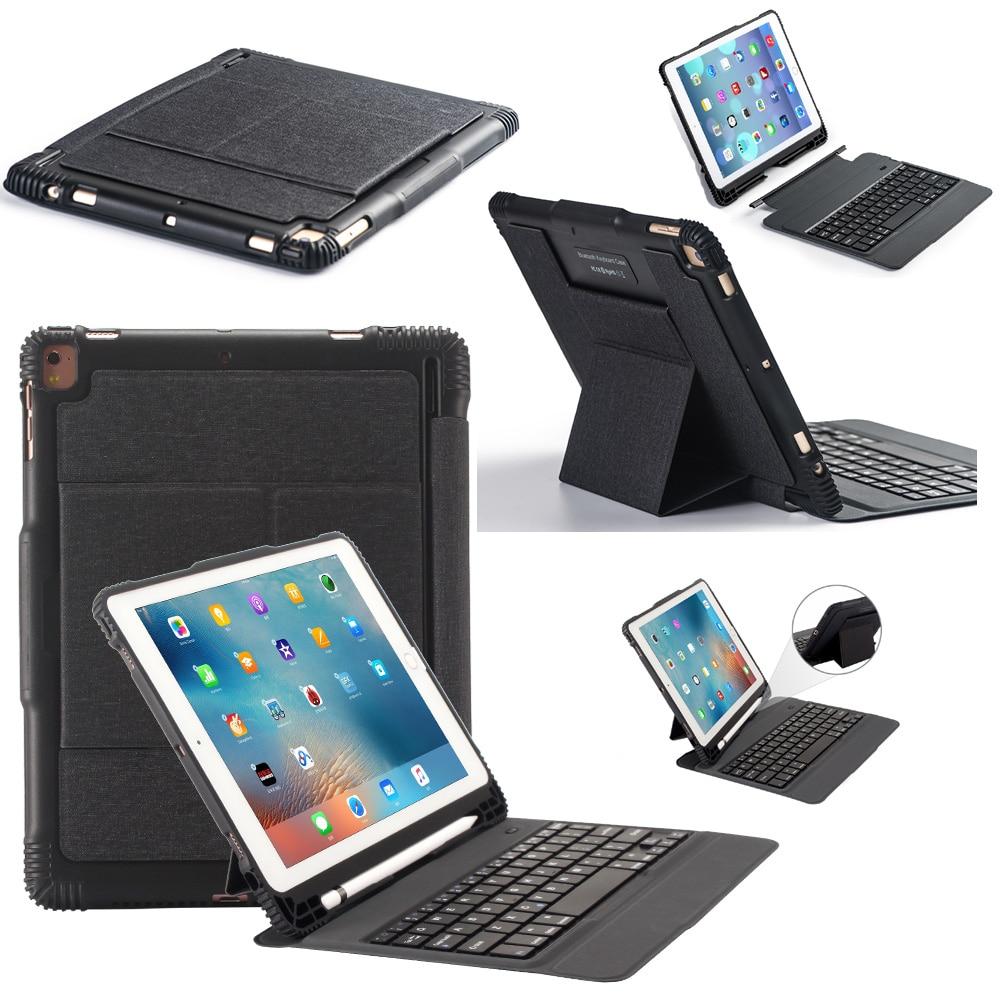 Slim Detachable Russian Hebrew Spanish Wireless Bluetooth Keyboard Leather Cover Funda Case For Apple iPad Pro