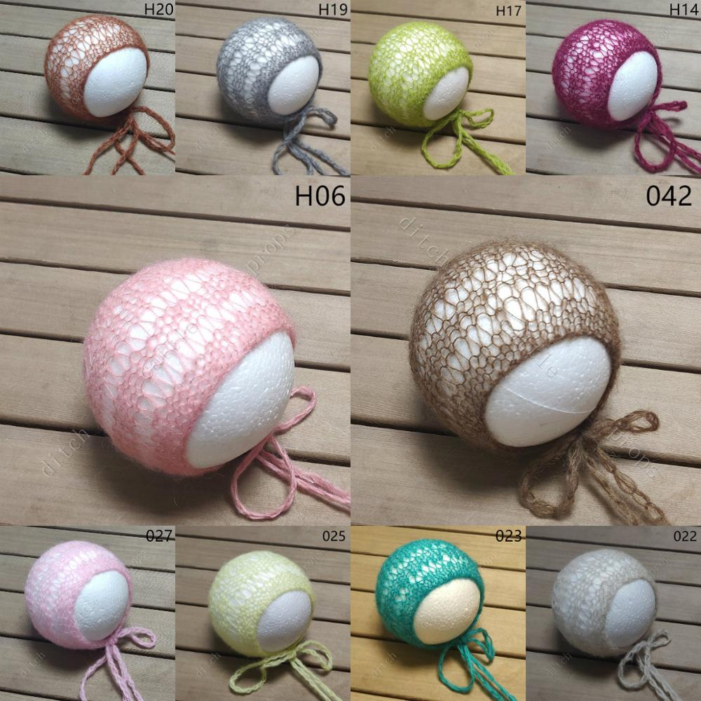 Newborn Photo Prop Mohair hat bonnet Hand Knitted Baby Photography Props Hollow out hat