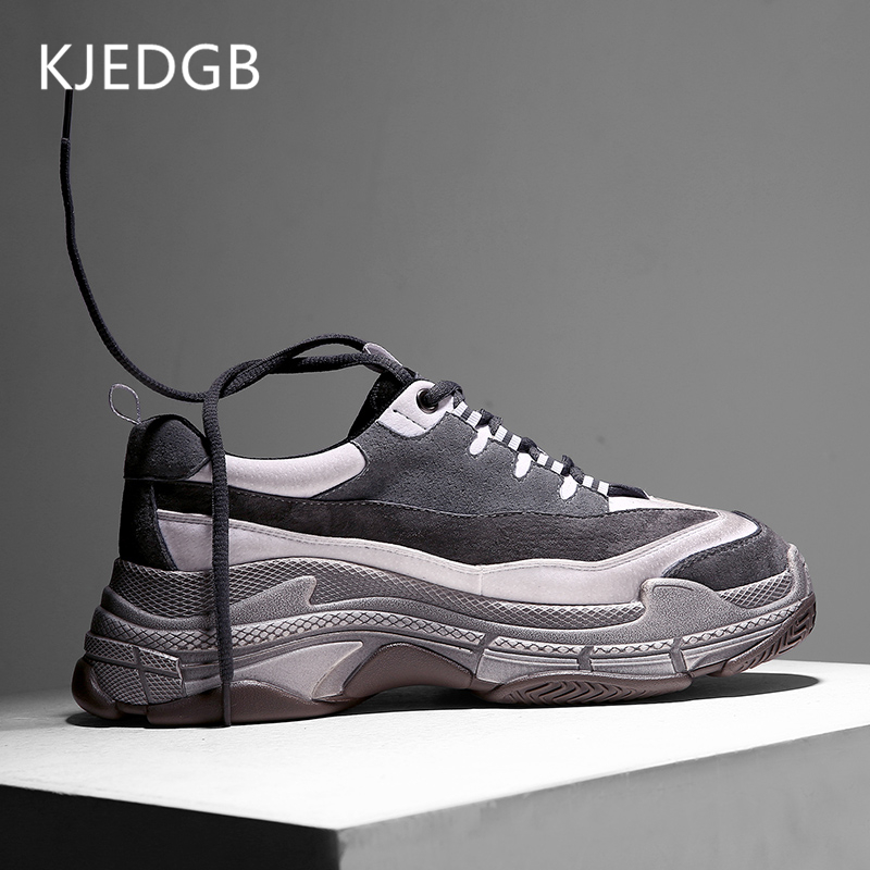 KJEDGB New Spring Autumn Retro Style Fashion Men Casual Shoes Thick Sole Chunky Sneakers Platform Footwear Adult Male Shoes