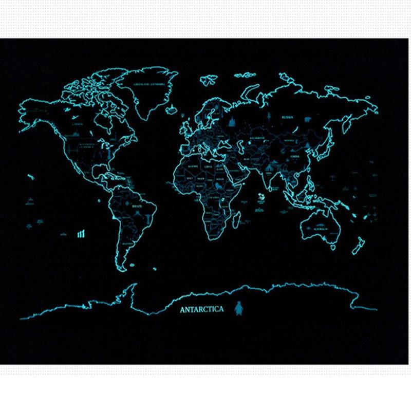 Nuit lumineuse carte à gratter fluorescente Starlight monde personnalisé voyage vacances décor à la maison carte à gratter du monde autocollants