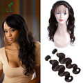 360 22*4*2 Lace Frontal With Bundles Unprocessed Brazilian Virgin Hair Body Wave Human Hair Bundles With 360 Lace Frontal