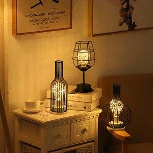 Image 2 - LED Retro Lamp Ijzeren Tafel Winebottle Koperdraad Nachtlampje Creatieve Hotel Home Decoratie Bureaulamp Night Lamp Batterij Aangedreven