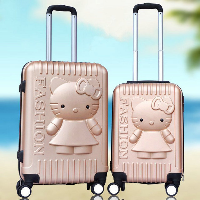 New Women 3D Cartoon Travel Suitcase Universal Wheels Trolley Luggage Travel Bag Girls Hello Kitty Luggage