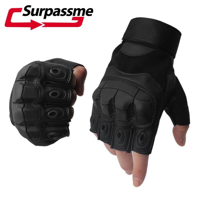 Leather Half Finger Hard Knuckle Summer Motorcycle Gloves Outdoor Sports Motorbike Motocross Moto AVT Biker Riding Tactical