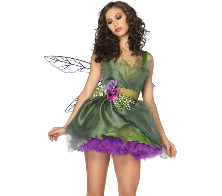 Carnival Adult Tinker Bell Flower Fairy Costume Fairy Green Elf Cosplay Halloween Stage Show Party Fancy Dress