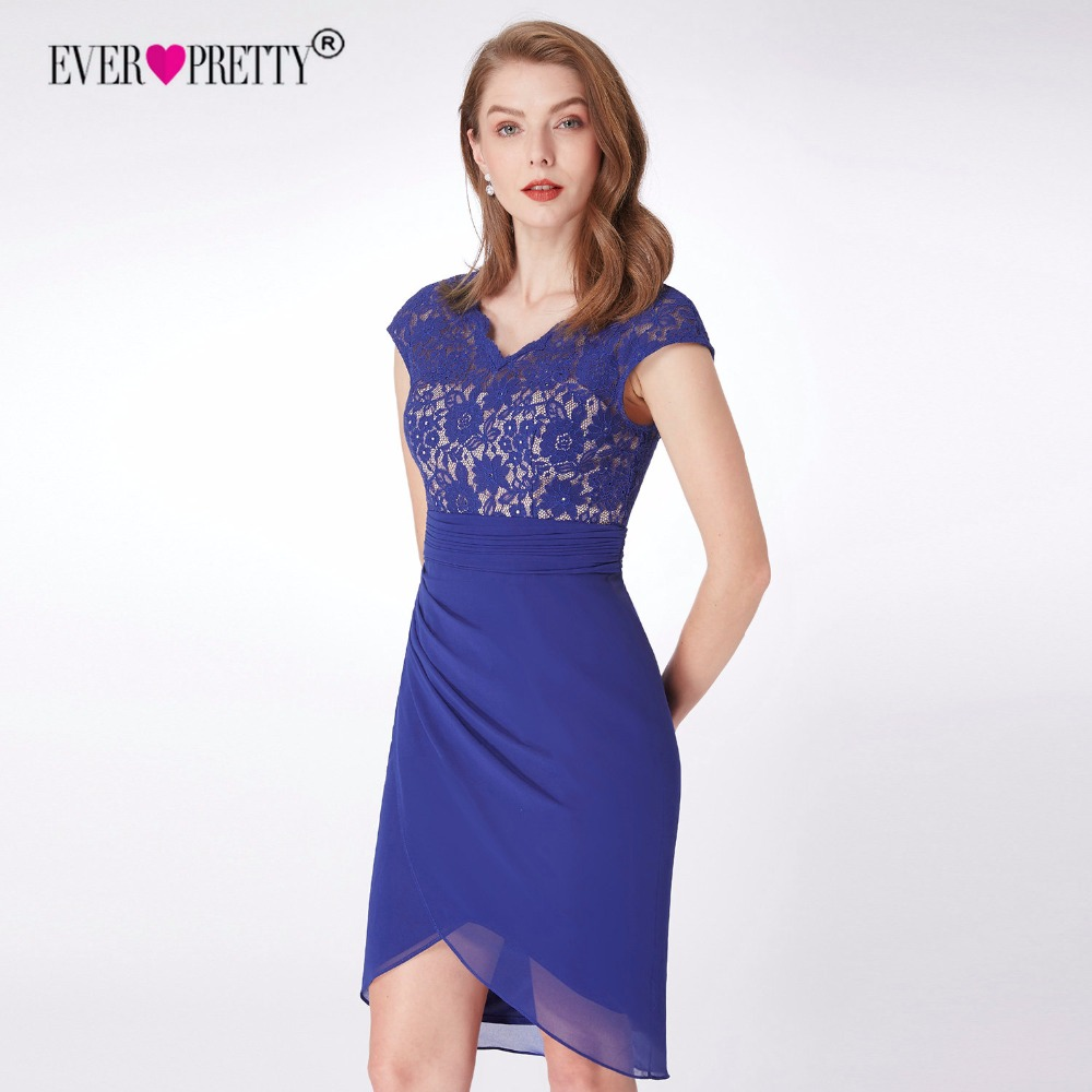 Ever Pretty Cocktail Dresses 2018 New Elegant Blue V Neck Cap Sleeve Lace Short Party Bodycon Gowns Vestido Coctel EP04061SB-in Cocktail Dresses from ...