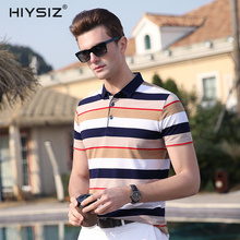 HIYSIZ High Quality NEW Hot 2019 Cotton T-Shirt Soft Streetwear Striped Casual Turn-down Collar Mens Short Sleeve TShirts ST011