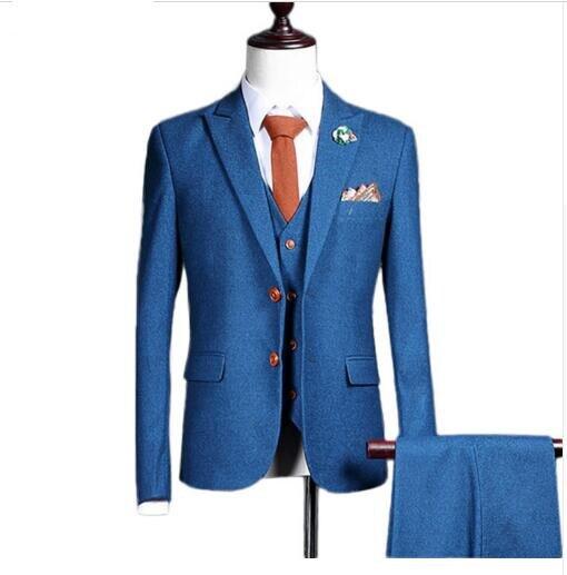 Loldeal (jacket+pants+vest) New fashion men suit spring autumn blue ...