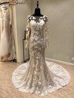 Gelinlik ערבית שמלות כלה בת הים 2018 robe de mariage vestido דה noiva דה רנדה Vintage ללא משענת שמלות כלה