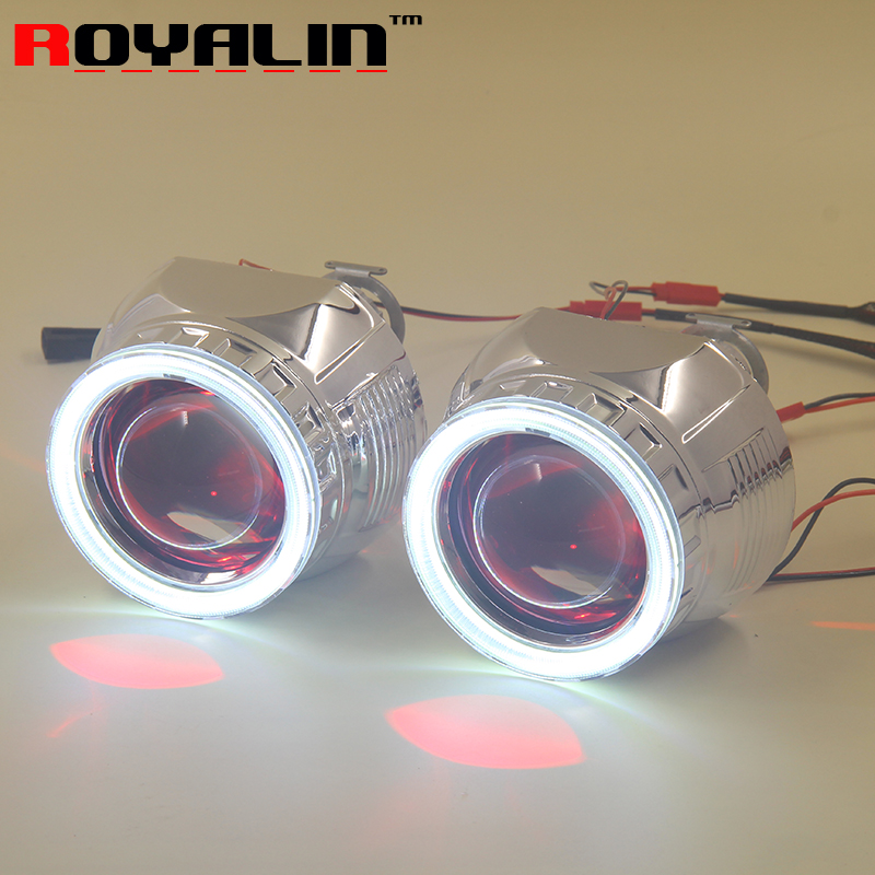 ROYALIN Car Styling Bi Xenon H1 Mini Projector Headlights Lens 2.5 inch LHD RHD w/ 80mm Angel Eyes & Devil Eyes White Red Blue royalin car styling hid h1 bi xenon headlight projector lens 3 0 inch full metal w 360 devil eyes red blue for h4 h7 auto light
