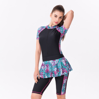 Brand Women Sport Set Zipper One Pieces Swimwear with Skirts Surfing Snorkeling Bathing Suit Lady Beach Wear Solid Patchwork