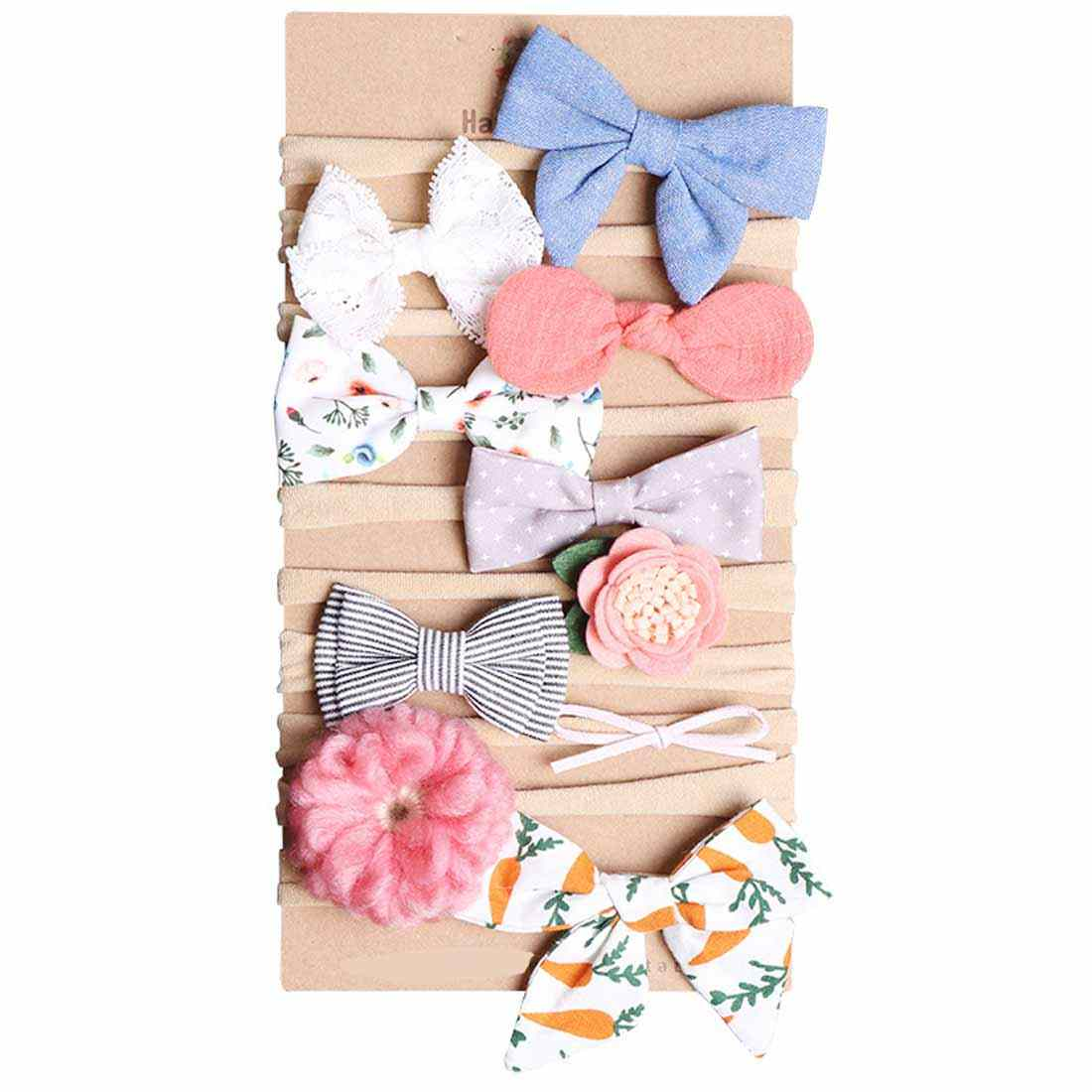 Cute Rabbit Ear Baby Headband Bow  Elastic Bandanas Baby Girls Headbands Children Turban Hair Accessories Set