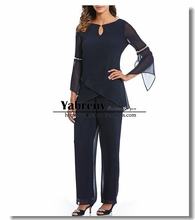 Two pieces Dark Navy Mother of the bride pant suits Chiffon dresses with Sleeves