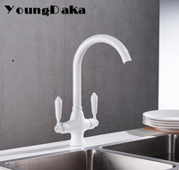 Wholesale And Retail White Finish Kitchen Sink Faucet Hot Cold Water Mixer Tap 360 Degree Swivel