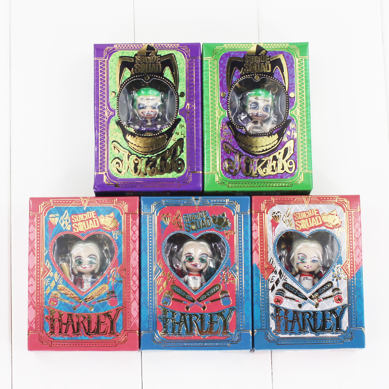 3cm 5pcs lot Suicide Squad Harley Quinn Joker Pendant Keyring Keychain PVC Action Figure Model Toy