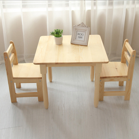 Children Furniture Sets One Desk Two Chairs Sets Pine