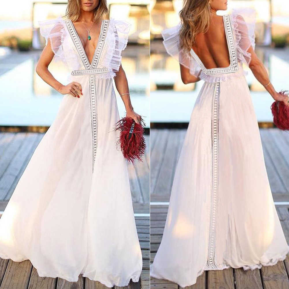 Frauen Spitze Backless Sleeveless Sexy V neck Boho Kleid Frau Mode-Party Strand Elegante Kleider Lange Maxi Sommerkleid Vestidos