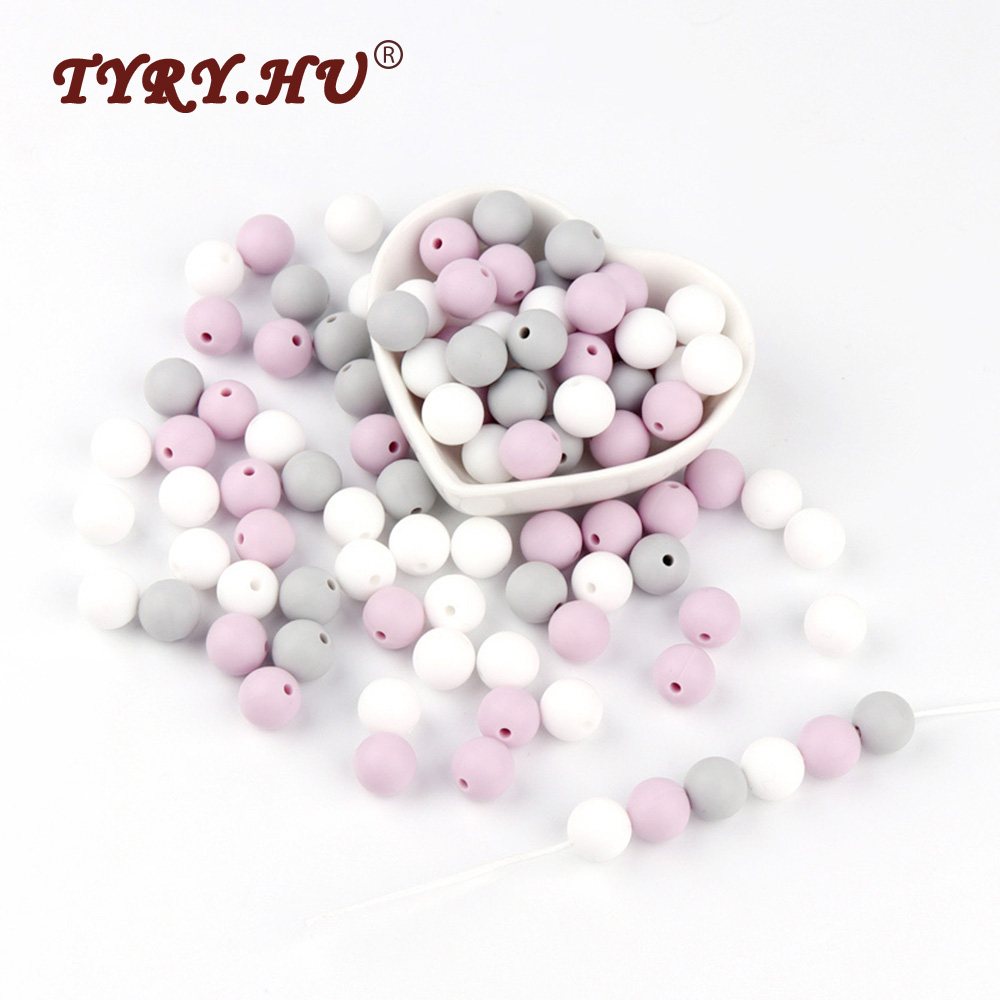 TYRY.HU 12mm Silicone Beads 30pcs Round Baby Teething Beads BPA Free Baby Mordedor Perle Silicone Dentition For Necklace Making bead