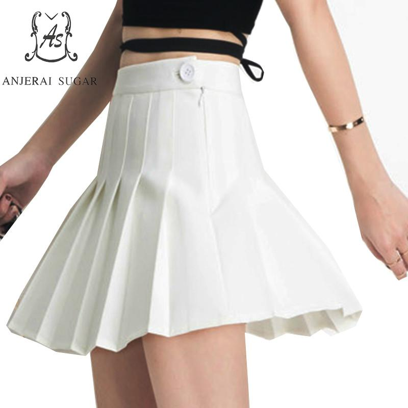 plus size Pleated skirts womens High Waist Vestidos black white gray Summer korean sexy Safety trousers Folded short mini skirt