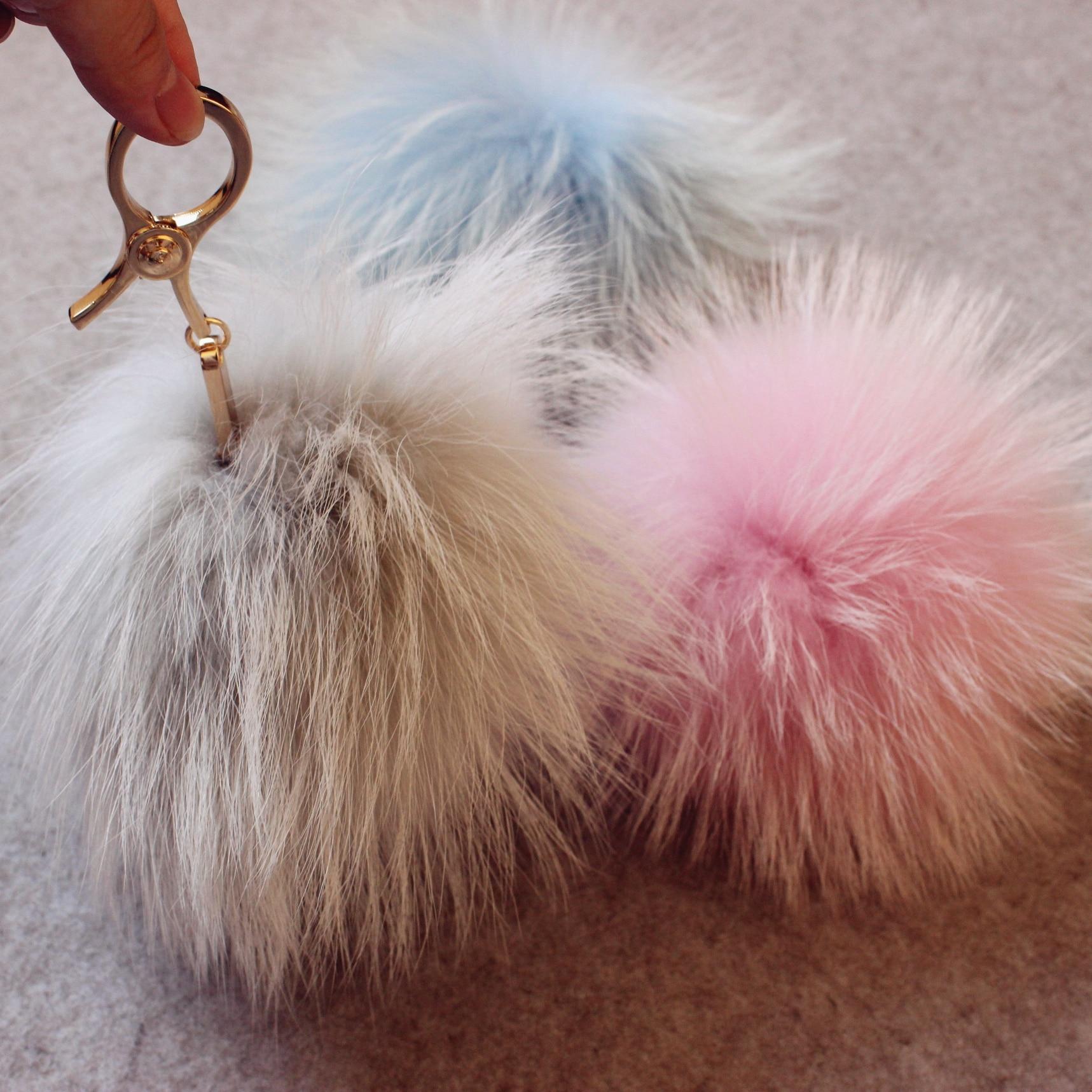 Creative super grand réel fourrure de raton laveur porte-clés sac à main en fourrure pendentif en peluche velours fourrure boule sac ornement blanc fourrure de raton laveur pom pom